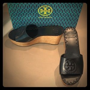 Tory Burch Black Leather / Wooden Platform Wedges